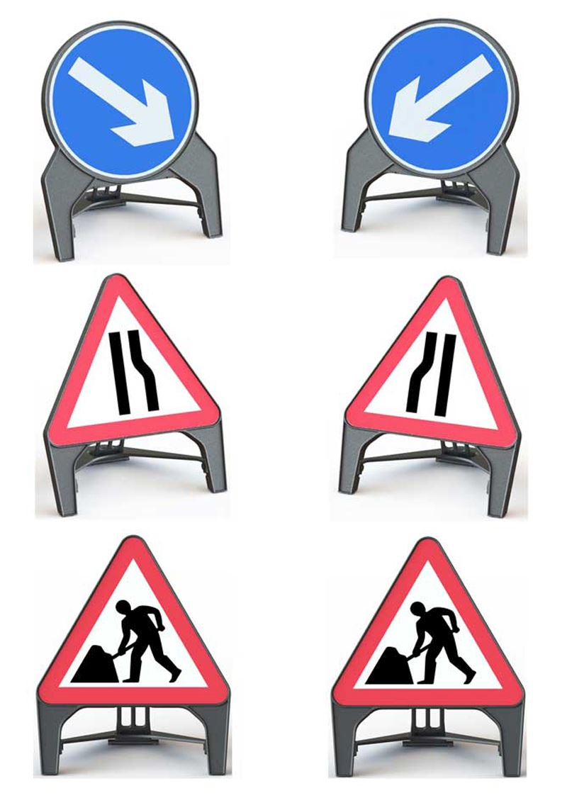Temporary Road Works Sign Set - Plastic Q Signs