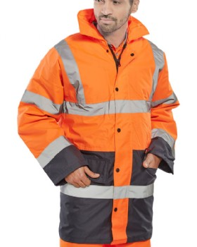 High Visibility Orange Traffic Jacket Two Tone Orange/Navy