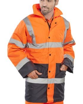 High Visibility Orange Traffic Jacket Two Tone Orange/Navy