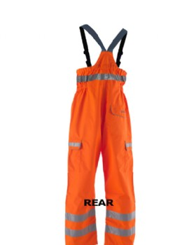 Waterproof Breathable Hi Vis Orange Bib  & Brace RIS-3279-TOM