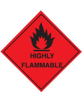 Highly Flammable Labels Roll 100