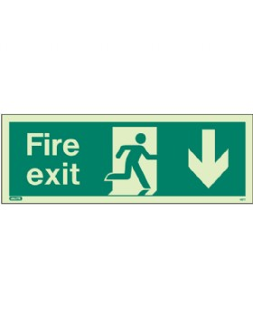 Fire Exit Down Sign Jalite Photo-Luminescent
