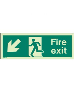 Fire Exit Down Left Sign Jalite Photo-Luminescent On 1mm Rigid PVC