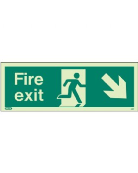 Fire Exit Down Right Sign Jalite Photo-Luminescent