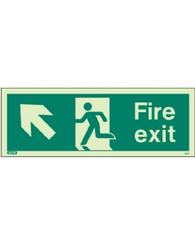 Fire Exit Up Left Sign Jalite Photo-Luminescent