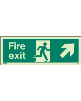 Fire Exit Up Right Sign Jalite Photo-Luminescent On 1mm Rigid PVC