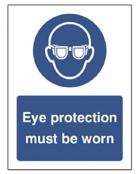 Eye Protection Must Be Worn Must Be Worn Sign Rigid Plastic
