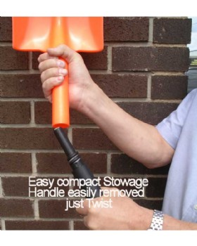 Orange  Polypropylene Plastic Shovel - 2 Part