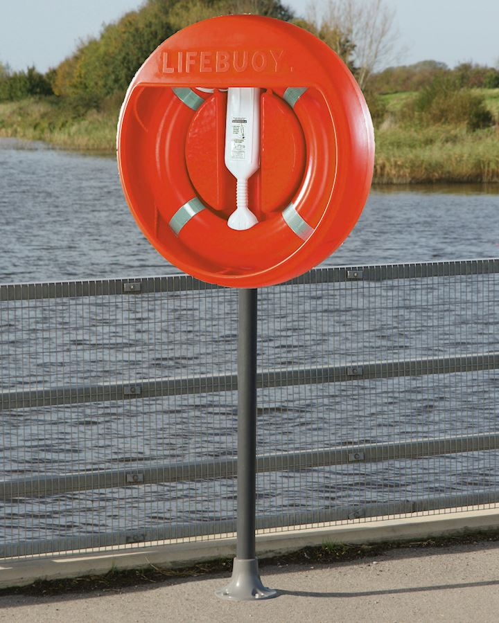 30 Inch Lifebuoy Station Complete - Stand Surface Mounted