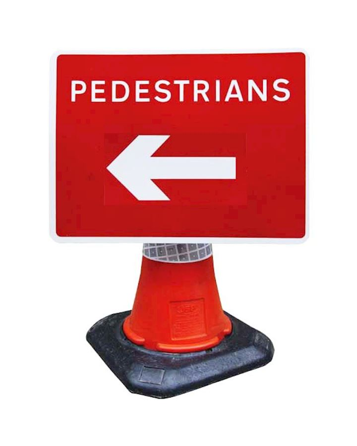 Pedestrians Direction Cone Mounted Sign Reversible
