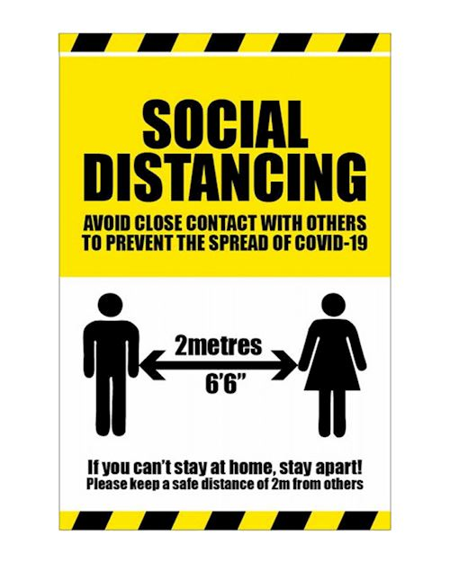 2 Metres Social Distancing - Avoid Contact Sign