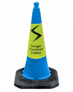Danger Overhead Cables Cone 75cm