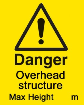 Danger Overhead Structure Sign With Fixings For Goalpost