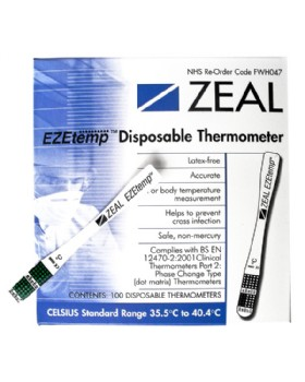 Disposable Thermometers Zeal Ezetemp (Box Of 100)
