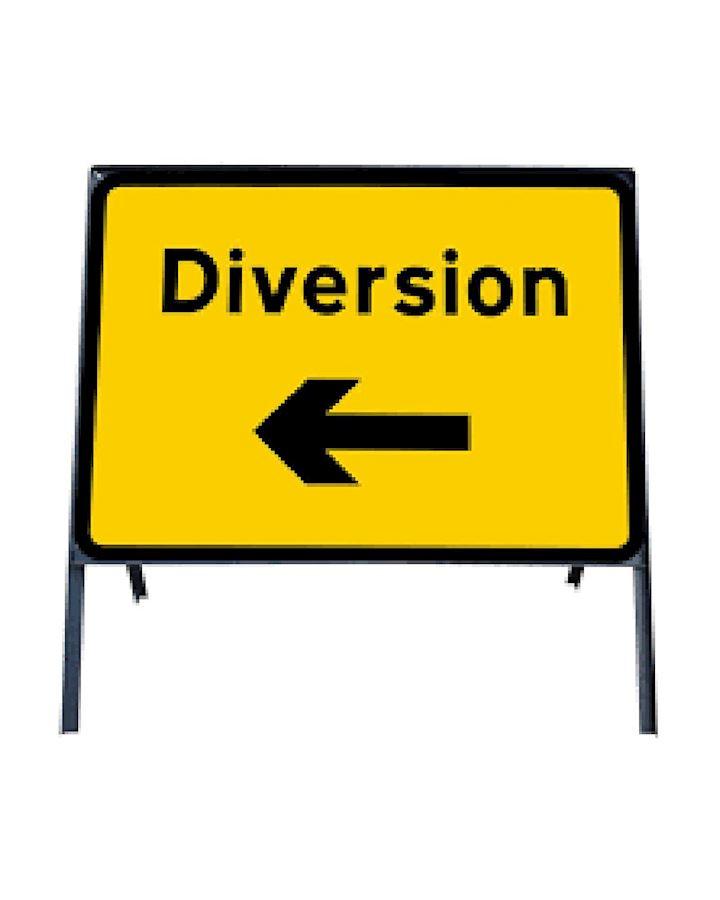 Diversion Left Metal Sign In Frame Chapter 8 Red Book