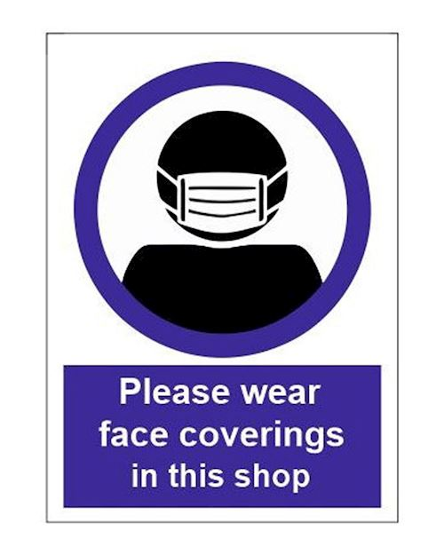 Face coverings to be worn in this shop - A4 Sign