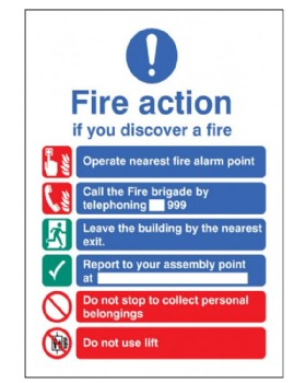 Fire Action Sign Self Adhesive Vinyl