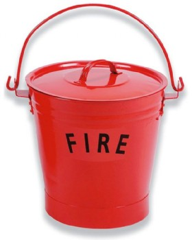 Fire Bucket Metal Red