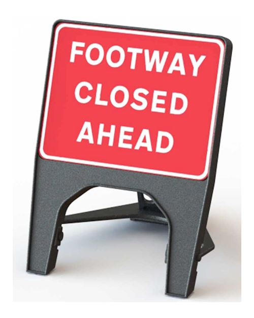 Footway Closed Ahead Road Q Sign