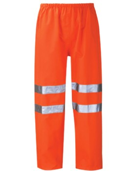 Hi - Vis Orange Breathable Waterproof  Over Trousers Class 3