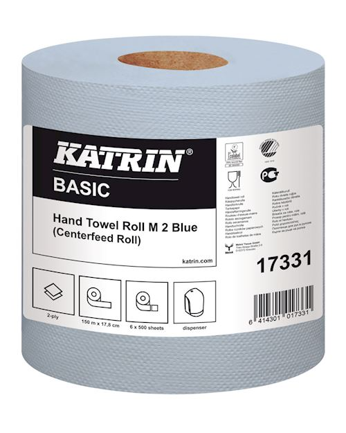 Katrin Basic Hand Towel Roll M2 Blue Centrefeed Roll 150m (Pack 6)