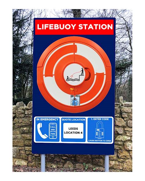 Lockable Lifebuoy Cabinet For 24 Inch buoys - Post mountable