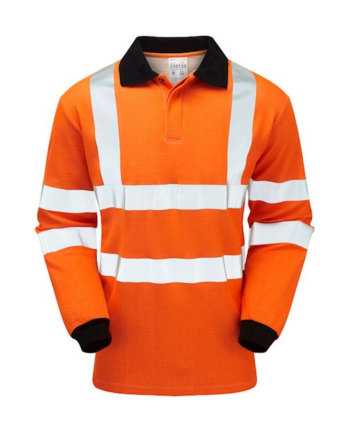 Flame Retardant Anti-Arc High Visibility Orange Long Sleeve Polo Shirt