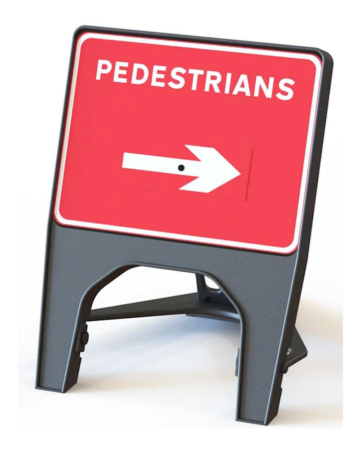Pedestrians Left or Right Reversible Road Q Sign