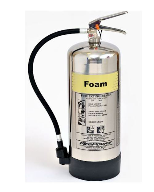 FirePower 9 Litre Foam Polished Extinguisher
