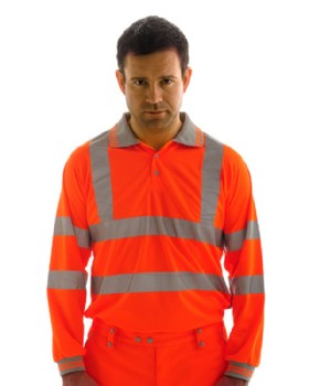 High Visibility Orange Polo Shirt Long Sleeved