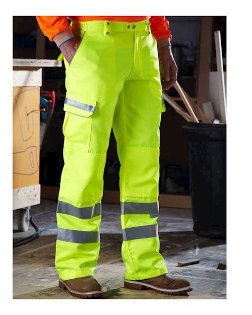 Hi Vis Yellow Polycotton Teflon Coated Trousers Reg