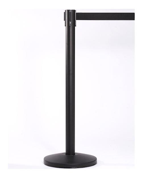 Queuemaster Retractable Barrier Post - Black