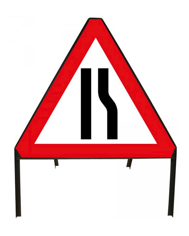 Road Narrows 'Offside' Sign And Frame