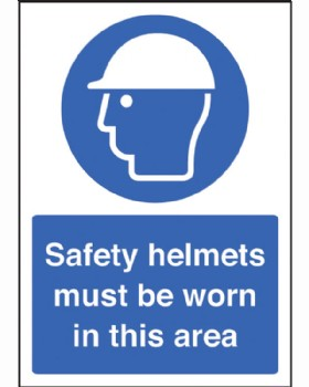 Safety Helmets Must Be Worn Sign Rigid Plastic