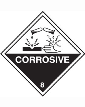 Corrosive Hazard Warning Diamond Sign S/A