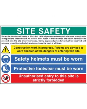 Site Safety Board On Rigid PVC