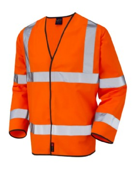 Hi Vis  Sleeved  Waist Coat Orange Class 3