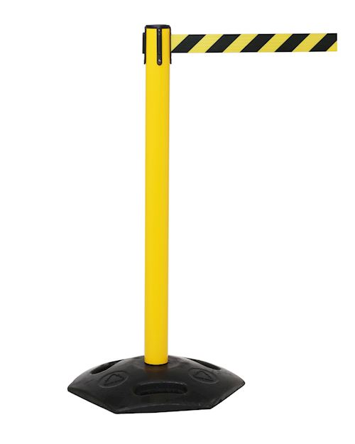 Weathermaster Retractable Barrier Post - Yellow