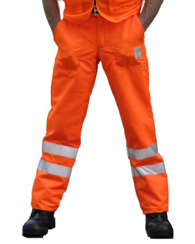 Hi - Vis Orange Chainsaw Trousers Network Rail - RIS-3279-TOM