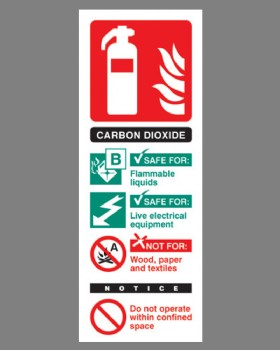 Fire Extinguisher Position Sign (Carbon Dioxide) Self Adhesive Vinyl