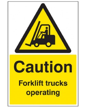 Caution Forklift Trucks Operating Rigid Plastic
