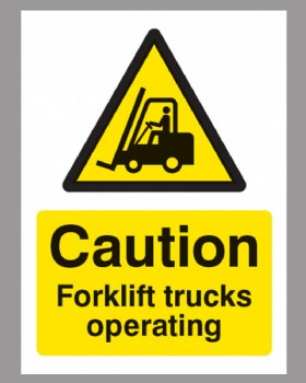 Caution Forklift Trucks Operating Rigid Plastic