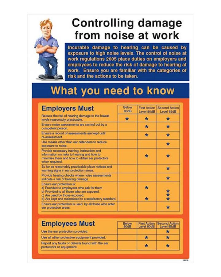 Controlling Damage From Noise At Work Regulations Wall Chart