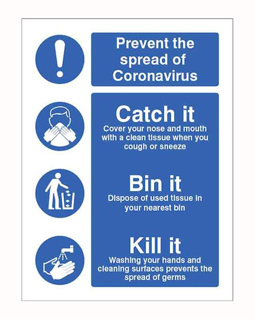 Coronavirus - Catch it, Kill it Safety Sign