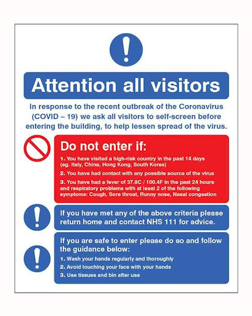 Coronavirus - Visitor self-screening Safety Sign