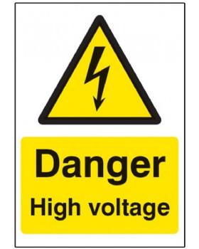Danger High Voltage Sign Rigid Plastic