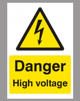 Danger High Voltage Sign Rigid Plastic