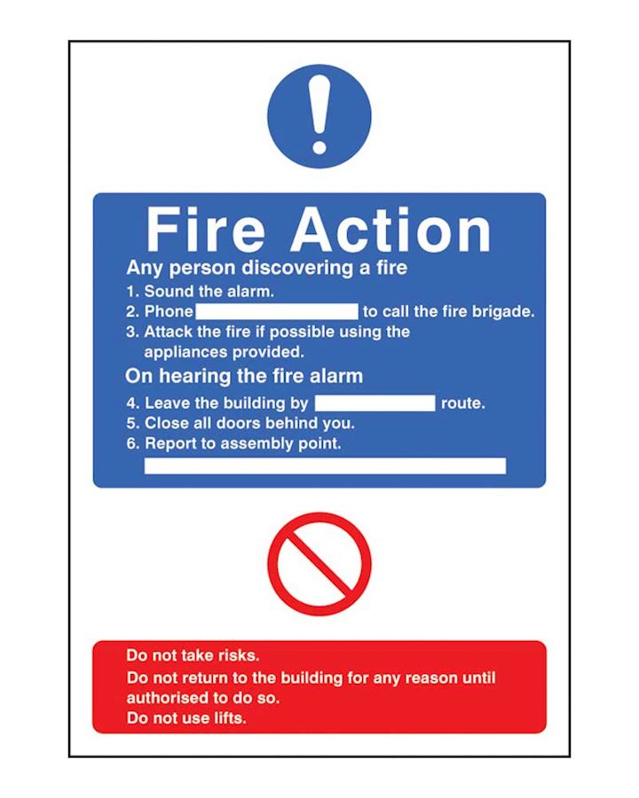 Fire Action Information Sign Rigid Plastic