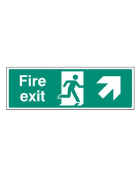 Fire Exit Up Right Sign Rigid Plastic