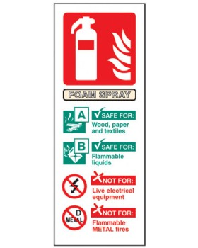 Fire Extinguisher Position Sign (Foam Spray) Self Adhesive Vinyl